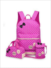 Girls 16.5 Waterproof Polkadot Bow Backpack +Pencil Case + Mobile Phone Bag Set 3pc Set (4 colors) - Pink - Girls Backpack