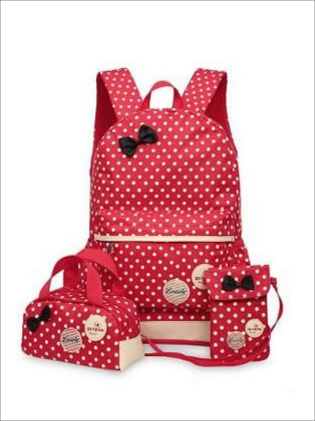 Girls 16.5 Waterproof Polkadot Bow Backpack +Pencil Case + Mobile Phone Bag Set 3pc Set (4 colors) - Red - Girls Backpack