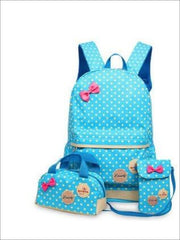 Girls 16.5 Waterproof Polkadot Bow Backpack +Pencil Case + Mobile Phone Bag Set 3pc Set (4 colors) - Sky Blue - Girls Backpack
