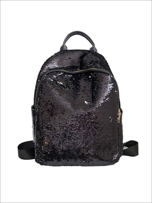 Girls 16 Iridescent Sequined Backpack - Black - Girls Backpacks