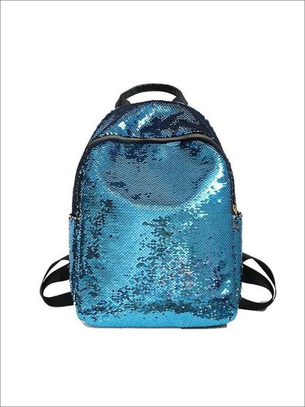 Girls 16 Iridescent Sequined Backpack - Blue - Girls Backpacks