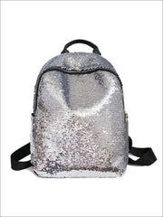 Girls 16 Iridescent Sequined Backpack - Silver - Girls Backpacks
