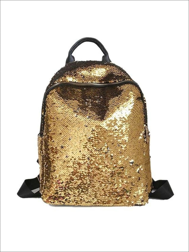 Girls 16 Iridescent Sequined Backpack - Yellow - Girls Backpacks