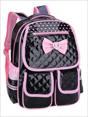 Girls 16 Pink/Black Bow Quilted Synthetic Leather School Backpack - Black / 16 in - Girls Backpack