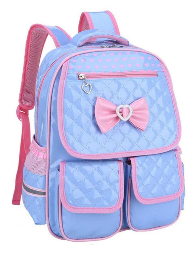 Girls 16 Pink/Black Bow Quilted Synthetic Leather School Backpack - Blue / 16 in - Girls Backpack
