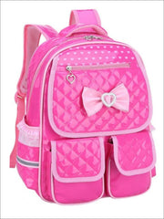 Girls 16 Pink/Black Bow Quilted Synthetic Leather School Backpack - Hot Pink / 16 in - Girls Backpack