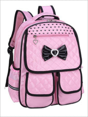 Girls 16 Pink/Black Bow Quilted Synthetic Leather School Backpack - Pink / 16 in - Girls Backpack