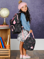 Girls 16 Polka Dot 3pc Backpack Set With Bunny Pom Pom Key Chain - Girls Backpack