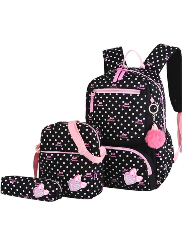 Girls 16 Polka Dot 3pc Backpack Set With Bunny Pom Pom Key Chain - Black - Girls Backpack