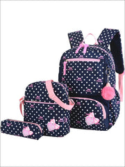 Girls 16 Polka Dot 3pc Backpack Set With Bunny Pom Pom Key Chain - Navy - Girls Backpack