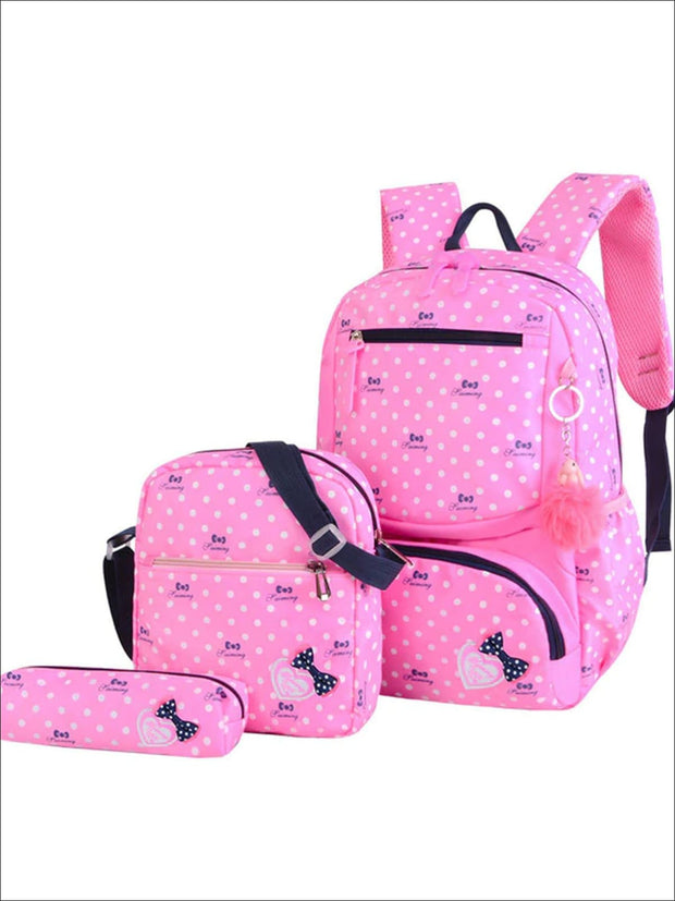 Girls 16 Polka Dot 3pc Backpack Set With Bunny Pom Pom Key Chain - Pink - Girls Backpack