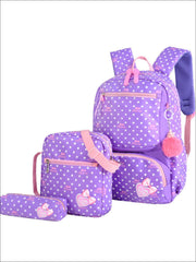Girls 16 Polka Dot 3pc Backpack Set With Bunny Pom Pom Key Chain - Purple - Girls Backpack