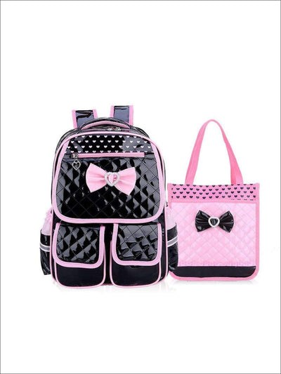 Girls 16 Quilted Backpack with Matching Lunch Box - Black / 16 in - Girls Backpack