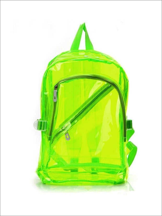 Girls 16 Transparent Waterproof Backpack - Neon Green - Girls Backpacks