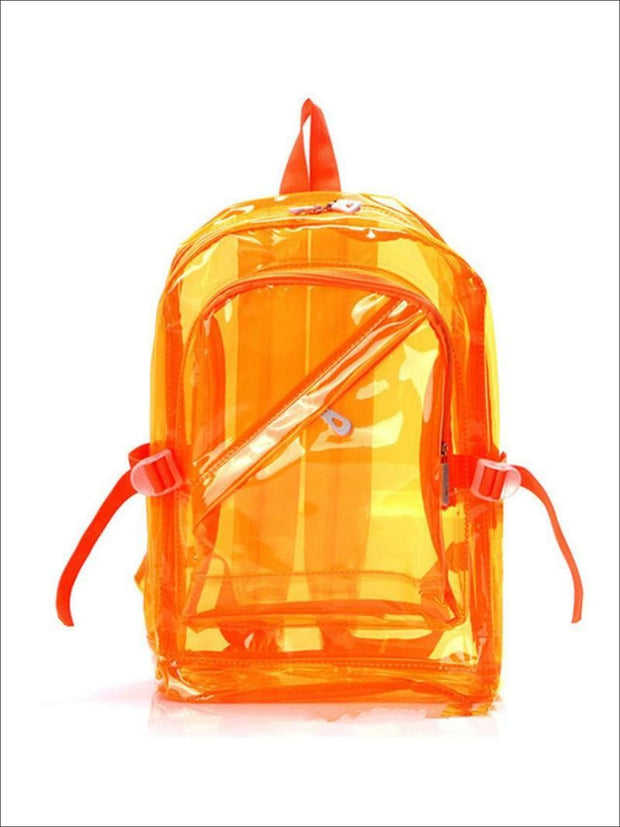 Girls 16 Transparent Waterproof Backpack - Orange - Girls Backpacks