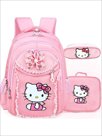 Girls 17.5 Pink Kitty Backpack Pencil Case and Mini Lunchbox Set - Pink - Girls Backpacks
