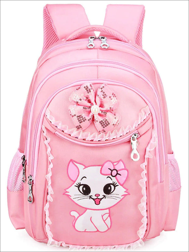 Girls 17.5 Pink Sequin Kitty Backpack with Matching Pencil Case & Mini Lunchbox - Girls Backpacks