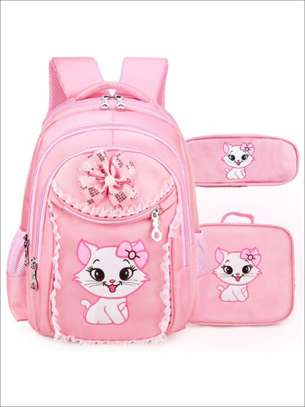 Girls 17.5 Pink Sequin Kitty Backpack with Matching Pencil Case & Mini Lunchbox - Pink - Girls Backpacks