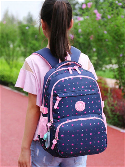 Girls 17 Dotted Star Print 3pc Backpack Set - Girls Backpack
