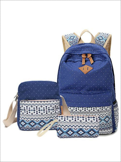 Girls 17 Ethnic Print School Backpack + Lunch Box + Coin Purse 3 Piece Set - Blue - Backpack
