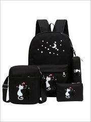 Girls 17 Kitten Print Backpack 4pc Set - Black - Girls Backpack