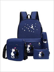 Girls 17 Kitten Print Backpack 4pc Set - Blue - Girls Backpack