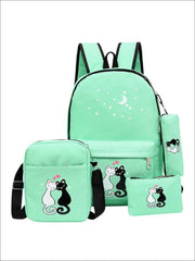 Girls 17 Kitten Print Backpack 4pc Set - Green - Girls Backpack