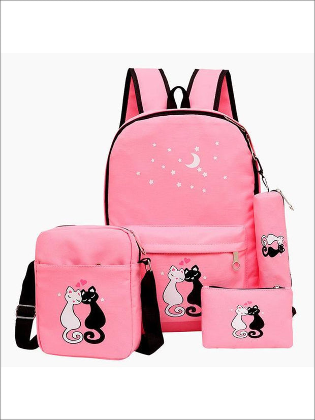 Girls 17 Kitten Print Backpack 4pc Set - Pink - Girls Backpack