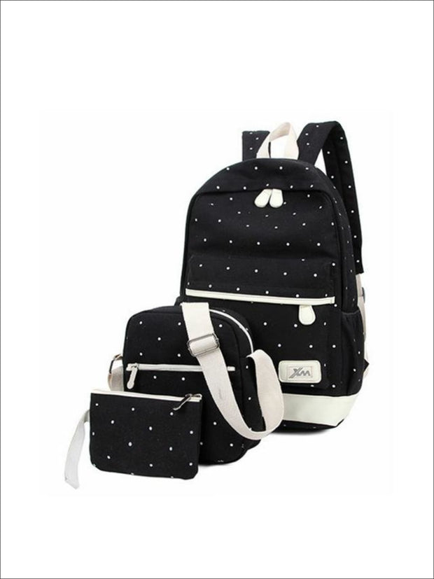Girls 17 Polka Dot 3pc Backpack set - Black - Girls Backpacks