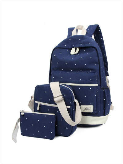Girls 17 Polka Dot 3pc Backpack set - Blue - Girls Backpacks