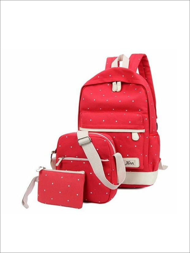 Girls 17 Polka Dot 3pc Backpack set - Red - Girls Backpacks