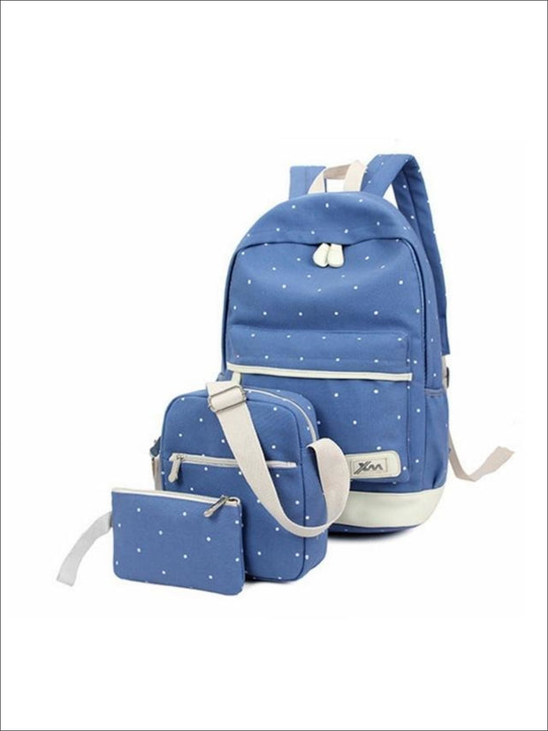 Girls 17 Polka Dot 3pc Backpack set - Sky Blue - Girls Backpacks