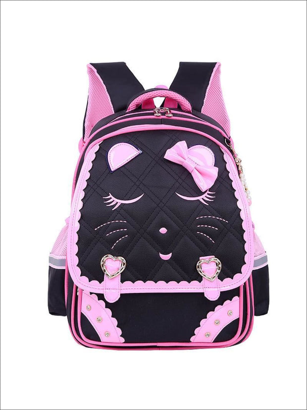 Girls 17 Quilted Kitty Bow Tie Backpack - black - Girls Backpacks