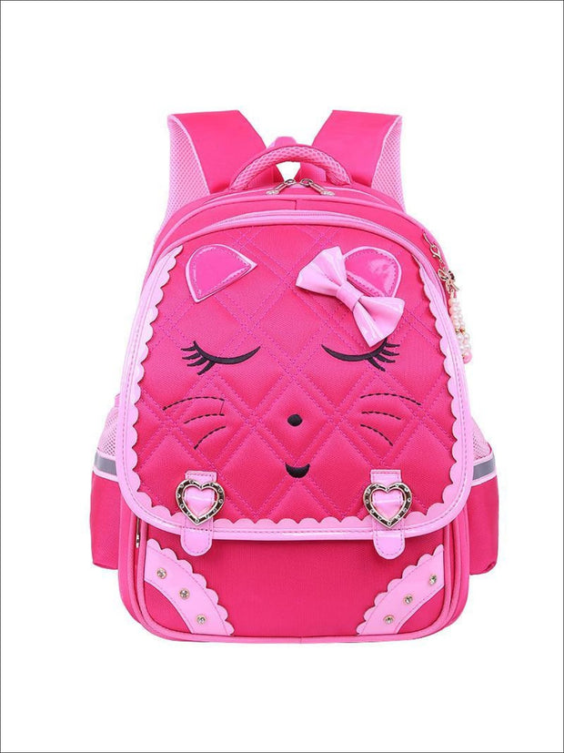 Girls 17 Quilted Kitty Bow Tie Backpack - Hot Pink - Girls Backpacks