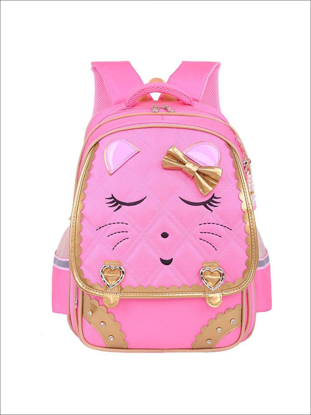Girls 17 Quilted Kitty Bow Tie Backpack - pink - Girls Backpacks
