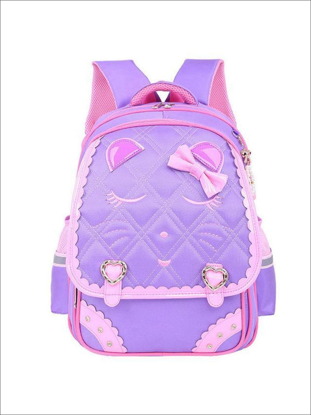 Girls 17 Quilted Kitty Bow Tie Backpack - purple - Girls Backpacks