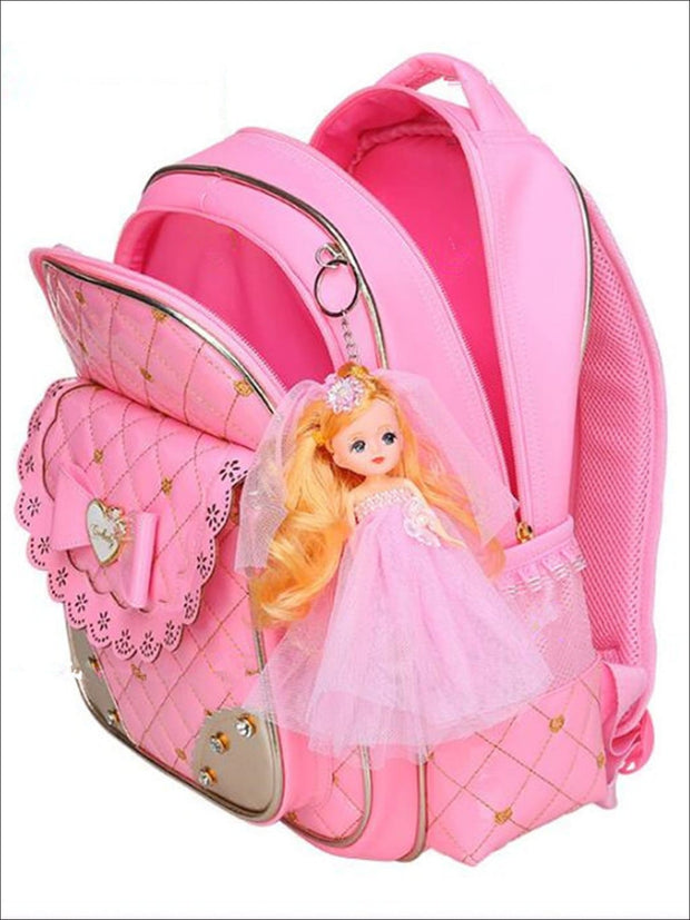 Girls 17 Quilted Patent Synthetic Leather Bow Applique Princess Backpack With Doll Key Chain - Girls Backpack