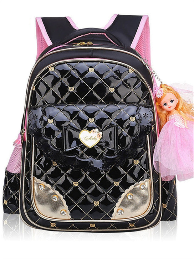 Girls 17 Quilted Patent Synthetic Leather Bow Applique Princess Backpack With Doll Key Chain - Black / Small - Girls Backpack