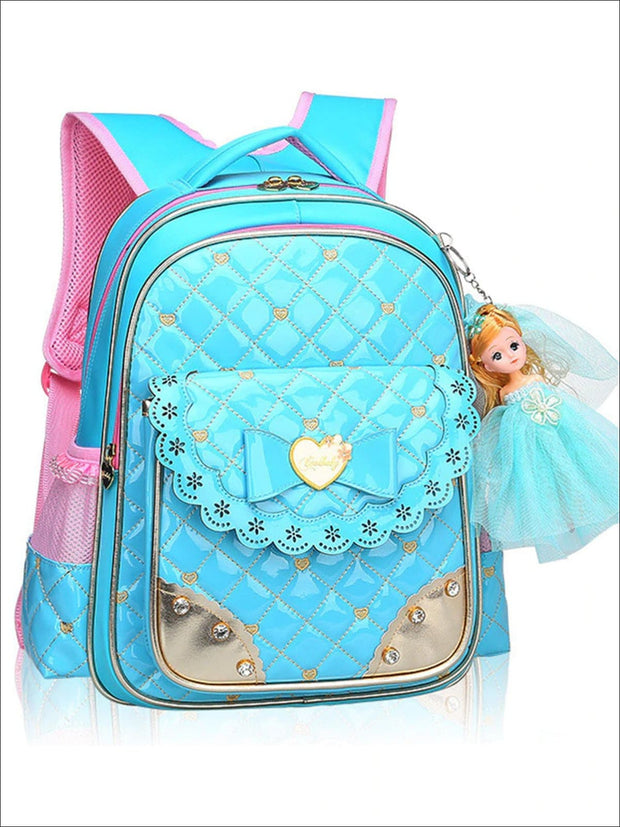 Girls 17 Quilted Patent Synthetic Leather Bow Applique Princess Backpack With Doll Key Chain - Blue / Small - Girls Backpack