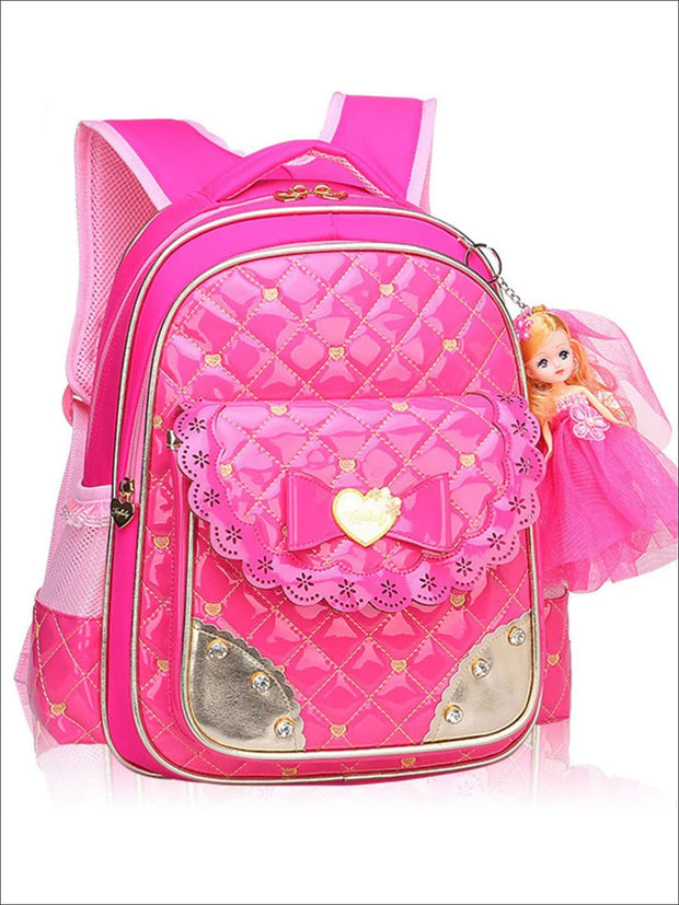 Girls 17 Quilted Patent Synthetic Leather Bow Applique Princess Backpack With Doll Key Chain - Hot Pink / Small - Girls Backpack