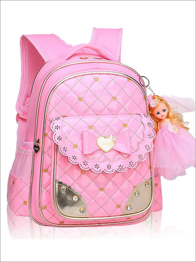 Girls 17 Quilted Patent Synthetic Leather Bow Applique Princess Backpack With Doll Key Chain - Pink / Small - Girls Backpack