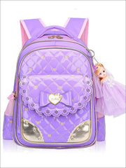 Girls 17 Quilted Patent Synthetic Leather Bow Applique Princess Backpack With Doll Key Chain - Purple / Small - Girls Backpack