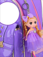 Girls 17 Quilted Patent Synthetic Leather with Heart & Rhinestone Applique - Girls Backpack