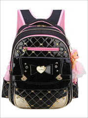 Girls 17 Quilted Patent Synthetic Leather with Heart & Rhinestone Applique - Black - Girls Backpack