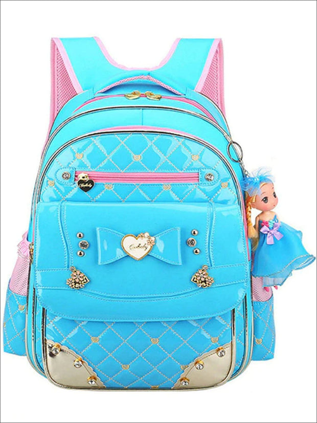 Girls 17 Quilted Patent Synthetic Leather with Heart & Rhinestone Applique - Blue - Girls Backpack