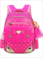 Girls 17 Quilted Patent Synthetic Leather with Heart & Rhinestone Applique - Hot Pink - Girls Backpack