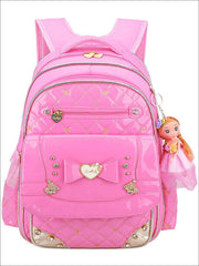 Girls 17 Quilted Patent Synthetic Leather with Heart & Rhinestone Applique - Pink - Girls Backpack