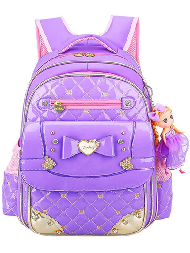 Girls 17 Quilted Patent Synthetic Leather with Heart & Rhinestone Applique - Purple - Girls Backpack