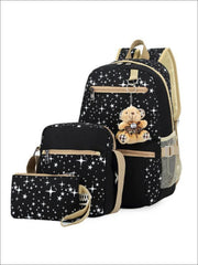 Girls 17 Sparkling Teddy Bear Backpack with Small Lunch Bag & Coin Pouch ( 4 Color Options) - Black - Girls Backpacks