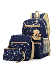 Girls 17 Sparkling Teddy Bear Backpack with Small Lunch Bag & Coin Pouch ( 4 Color Options) - Blue - Girls Backpacks